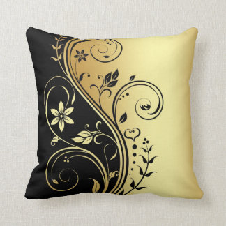 Elegant Gold Floral Scroll Black Pillow
