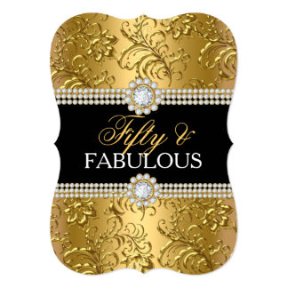 Elegant Gold Floral Swirl Fifty and Fabulous Party Card
