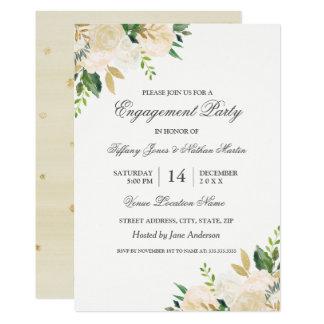 Elegant Gold Floral Watercolor Engagement Party Card