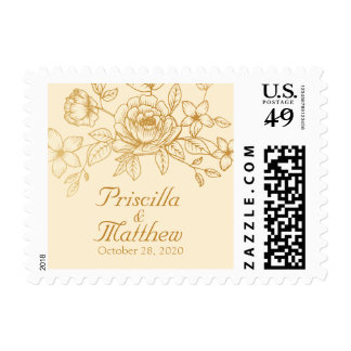 Elegant Gold Floral Wedding Postage