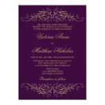 "Elegant Gold Flourish Damask Eggplant Invitations 5"" X 7"" Invitation Card"
