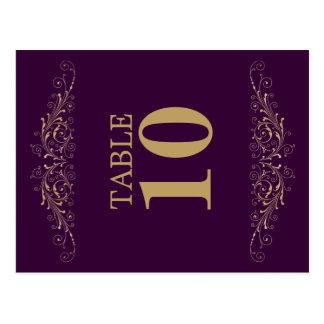 Elegant Gold Flourish Eggplant Table Number Card
