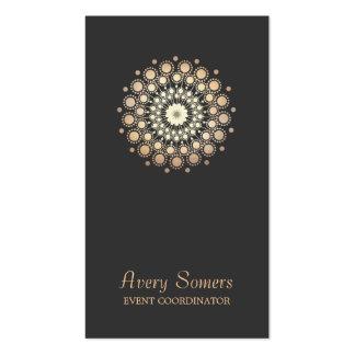 Elegant Gold Flower Motif Event Planner Black Business Card