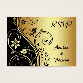 Elegant Gold Flower Scrollwork RSVP Wedding Card