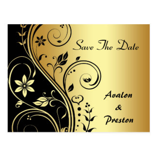 Elegant Gold Flower Scrollwork Save The Date Card