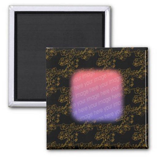 Elegant Gold Flowers Design Photo Magnet