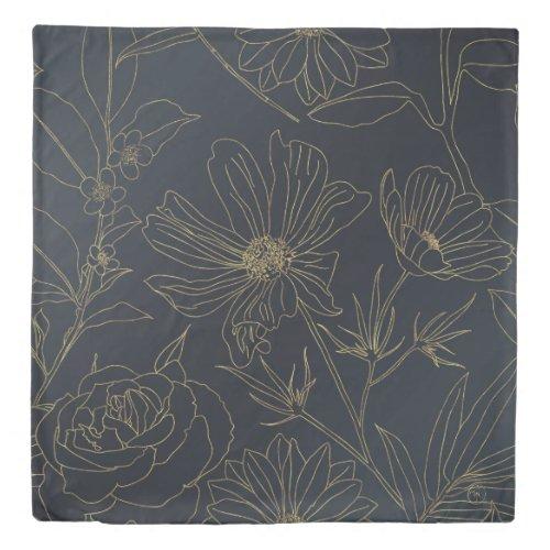 Elegant Gold Flowers outlines Blue gradient design Duvet Cover