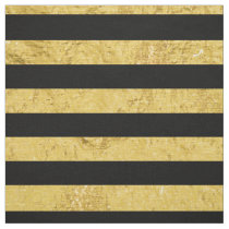 Elegant Gold Foil and Black Stripe Pattern Fabric