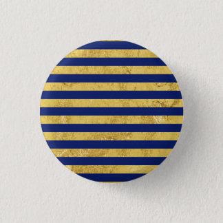 Elegant Gold Foil and Blue Stripe Pattern Button