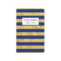Elegant Gold Foil and Blue Stripe Pattern Journal