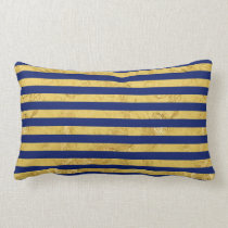 Elegant Gold Foil and Blue Stripe Pattern Lumbar Pillow