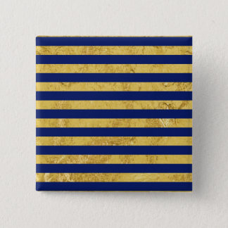 Elegant Gold Foil and Blue Stripe Pattern Pinback Button