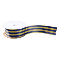 Elegant Gold Foil and Blue Stripe Pattern Satin Ribbon