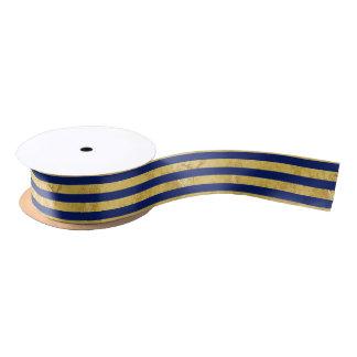 Elegant Gold Foil and Blue Stripe Pattern Satin Ribbon