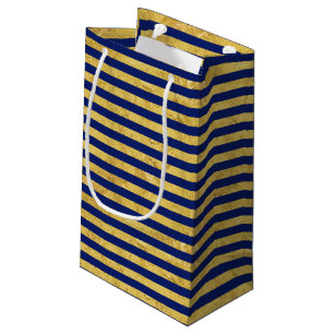 Elegant Gold Foil And Blue Stripe Pattern Small Gift Bag