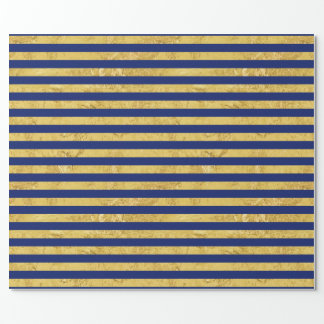 Elegant Gold Foil and Blue Stripe Pattern Wrapping Paper