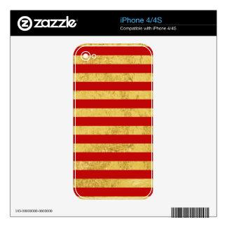 Elegant Gold Foil and Red Stripe Pattern iPhone 4 Skins