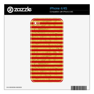 Elegant Gold Foil and Red Stripe Pattern iPhone 4S Skin