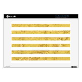 Elegant Gold Foil and White Stripe Pattern Acer Chromebook Decal