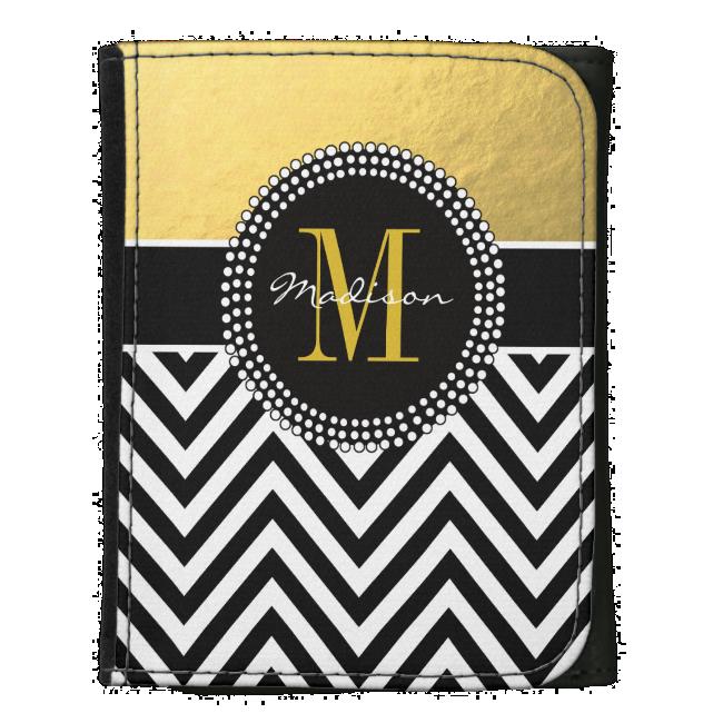 Elegant Gold Foil Black Chevron Monogrammed Wallet
