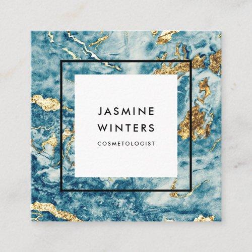 Elegant gold foil blue marble watercolor minimal square business card
