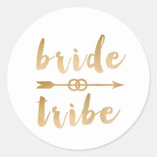 elegant gold foil bride tribe arrow wedding rings classic round sticker