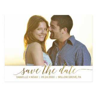 Elegant Gold Foil Calligraphy Save the Date Photo Postcard