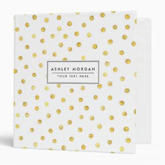 Elegant Gold Foil Confetti Dots 3 Ring Binder