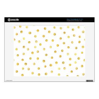 Elegant Gold Foil Confetti Dots Acer Chromebook Decal