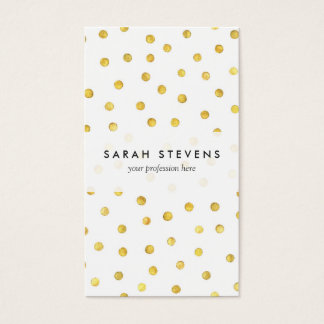 Elegant Gold Foil Confetti Dots Business Card