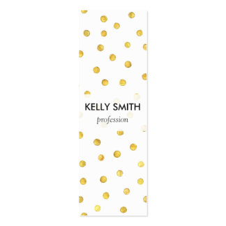 Elegant Gold Foil Confetti Dots Double-Sided Mini Business Cards (Pack Of 20)