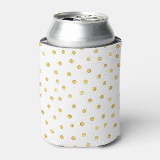 Elegant Gold Foil Confetti Dots Can Cooler