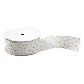 Elegant Gold Foil Confetti Dots Grosgrain Ribbon