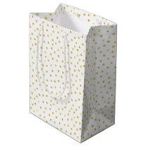 Elegant Gold Foil Confetti Dots Medium Gift Bag