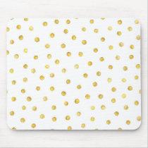 Elegant Gold Foil Confetti Dots Mouse Pad