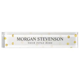 Elegant Gold Foil Confetti Dots Name Plate