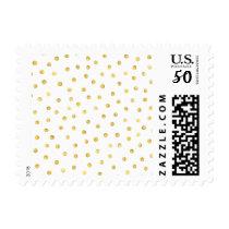 Elegant Gold Foil Confetti Dots Postage