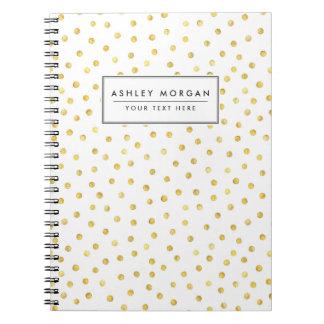 Elegant Gold Foil Confetti Dots Spiral Notebook