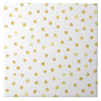 Elegant Gold Foil Confetti Dots Tile