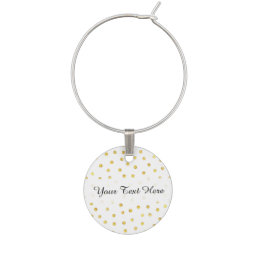 Elegant Gold Foil Confetti Dots Wine Glass Charm