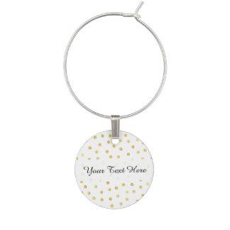 Elegant Gold Foil Confetti Dots Wine Glass Charm