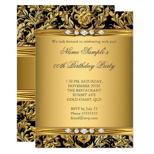 Elegant Gold Foil Damask Black Diamond Birthday Invitation