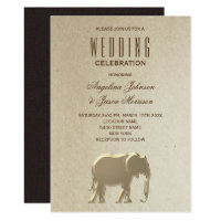 Elegant Gold Foil Elephant Rustic Craft Wedding Invitation