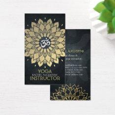 Elegant Gold Foil Floral Yoga Meditation Om Symbol Business Card at Zazzle
