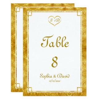 Elegant Gold Foil Heart Frame Wedding TABLE NUMBER