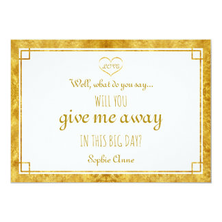 Elegant Gold Foil Heart Will You Give Me Away Card