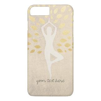 Elegant Gold Foil Leaves with Yoga Meditation Pose iPhone 7 Plus Case