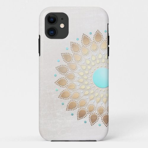 Elegant Gold Foil Look Lotus Flower iPhone 11 Case