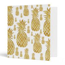 elegant gold foil look pineapples binder
