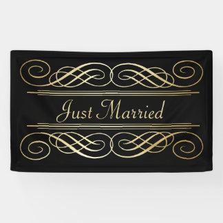 Elegant Gold Foil Look Scrollwork Script on Black Banner
